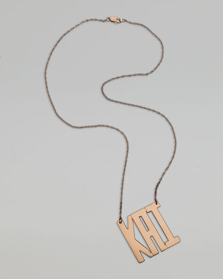 Square-Block Monogram Necklace, Rose Gold