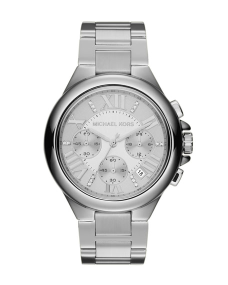 Silver Color Stainless Steel Camille Chronograph Glitz Watch