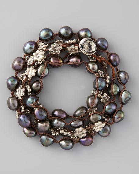 Pearl Wrap Bracelet, Peacock