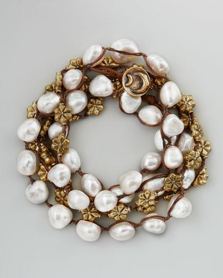 Pearl Wrap Bracelet, White