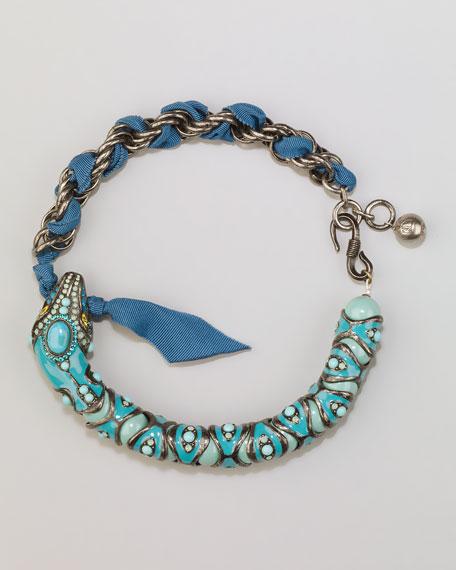 Enamel Snake Choker Necklace, Turquoise