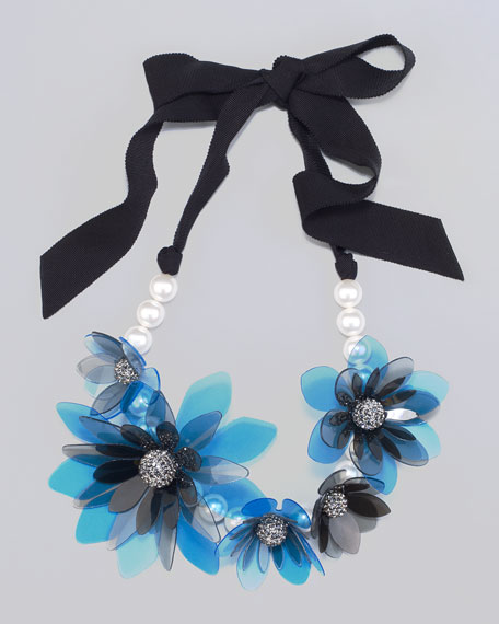 "Flower Choker Necklace, 19""L"