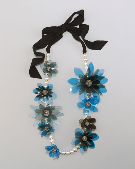 "Flower Ribbon Necklace, 23""L"