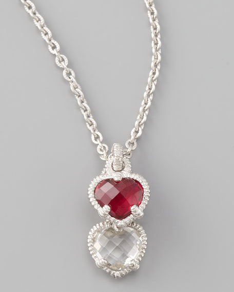 Silver Twin Heart Pendant Necklace