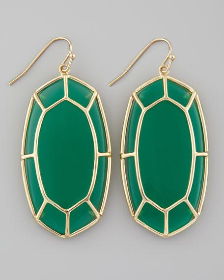Framed Cabochon Earrings, Green Onyx
