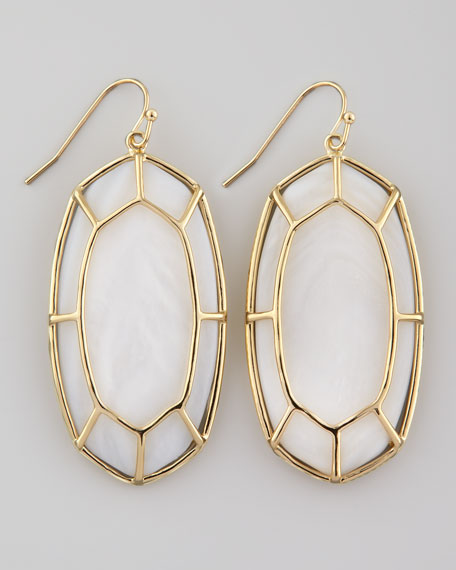 Framed Cabochon Earrings, Mother-of-Pearl