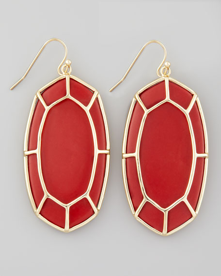 Framed Cabochon Earrings, Red Magnesite