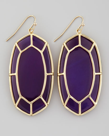 Framed Cabochon Earrings, Purple Onyx