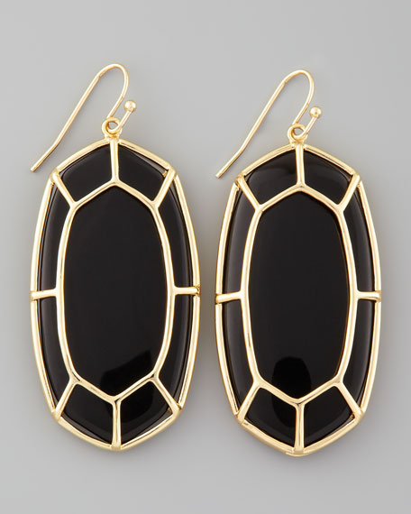 Framed Cabochon Earrings, Black Onyx