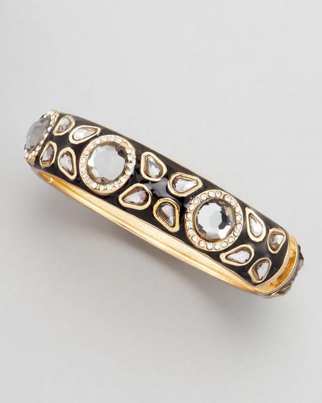 Deco Clear Cabochon Bracelet, Black