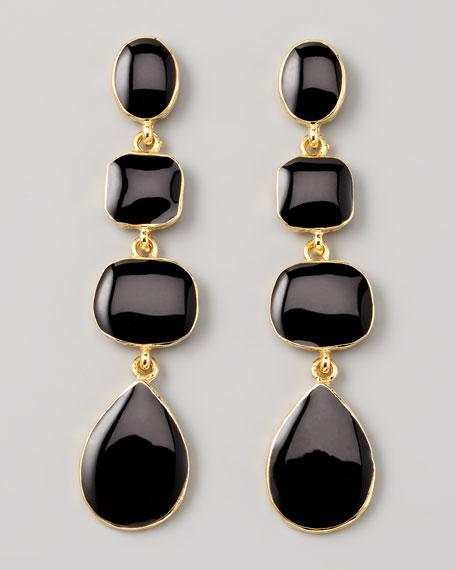Graduated Drop Earrings, Black