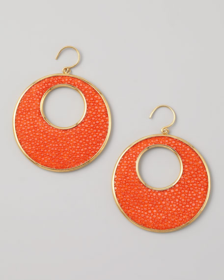 Stingray Circle Earrings, Orange