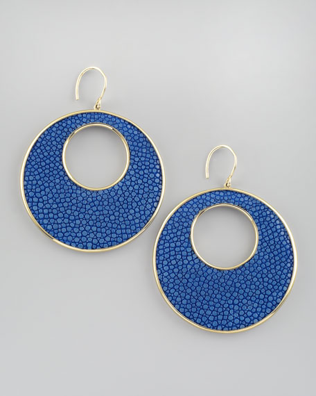 Stingray Circle Earrings, Blue