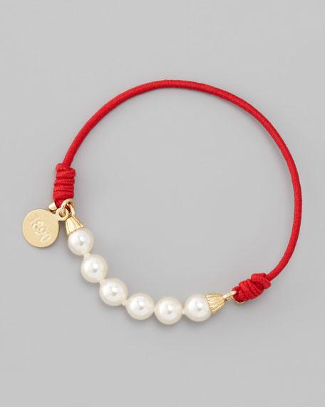 Elastic Pearl Bracelet, Red/Gold
