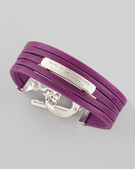 Leather Toggle Bracelet, Violet
