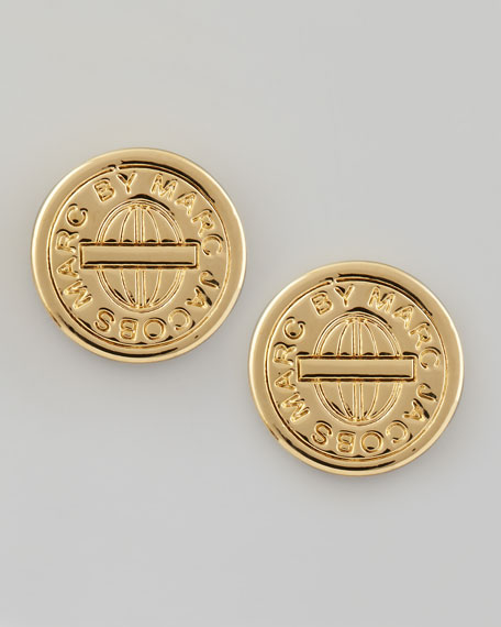 Turnlock-Engraved Logo Stud Earrings, Yellow Golden