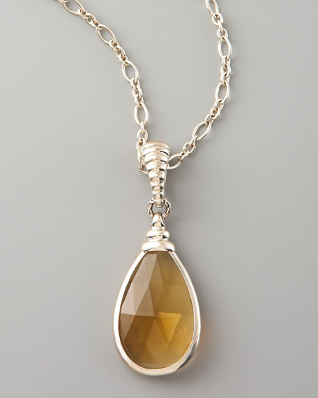 Bedeg Batu Pendant Necklace, Cognac Quartz