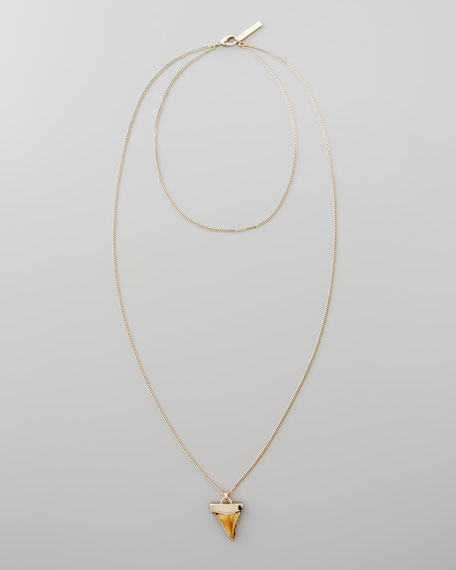 Golden Doubled Shark Tooth Necklace, Paesina
