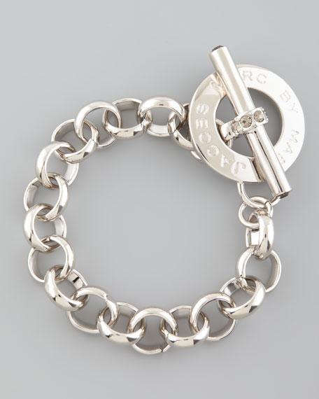 Logo Toggle Bracelet, Silvertone