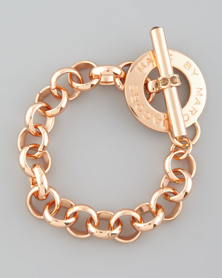 Logo Toggle Bracelet, Rose Golden