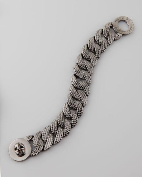 Lizard-Textured Metal Katie Turnlock Bracelet, Hematite