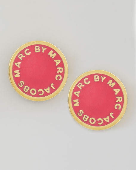 Enamel Logo Disc Stud Earrings, Lobster