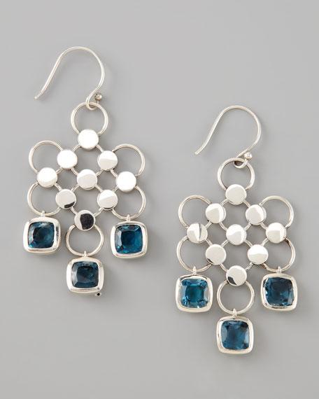 Square-Drop Dot Earrings, London Blue Topaz