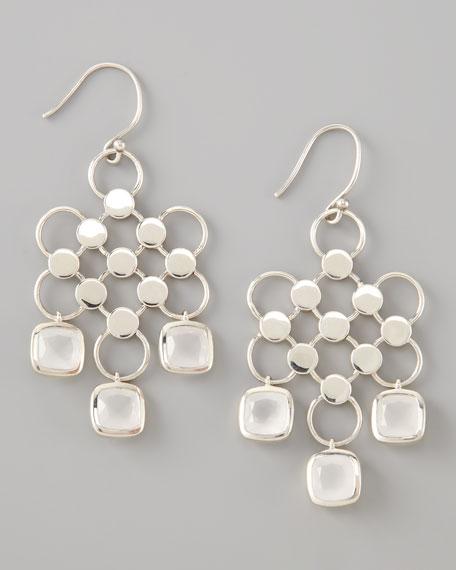 Square-Drop Dot Earrings, Milky Quartz