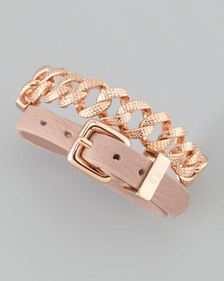 Chain & Leather Wrap Bracelet, Nude/Rose Golden