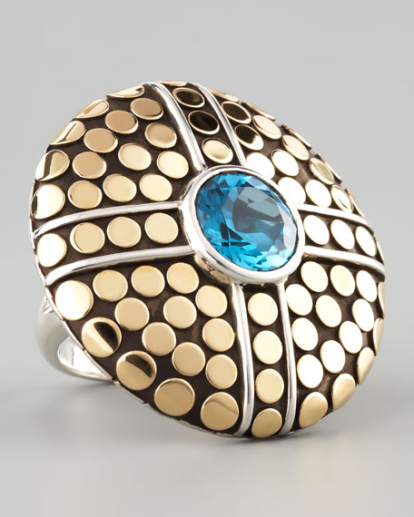 Dot Round Topaz-Center Ring