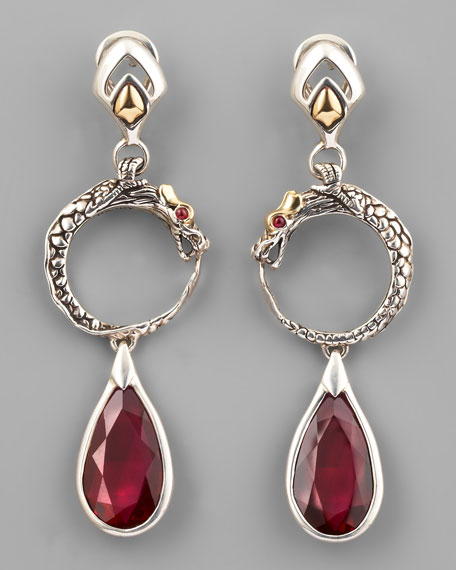 African Ruby Naga Drop Earrings