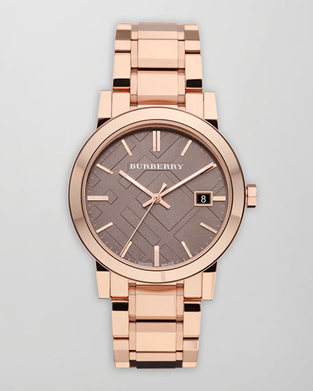 38mm Polished Watch, Rose Gold