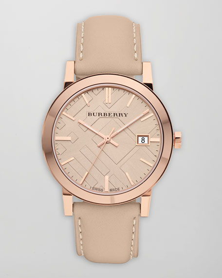38mm Leather-Strap Watch