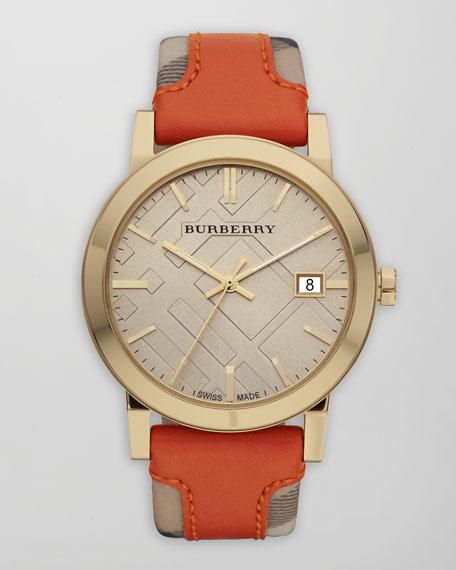 Check-Strap Watch, Orange