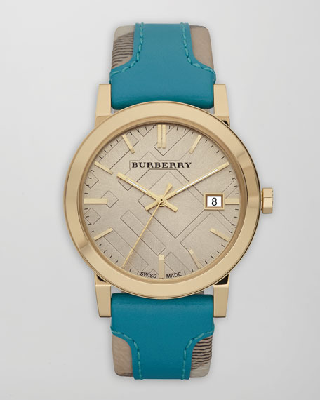 Check-Strap Watch, Turquoise