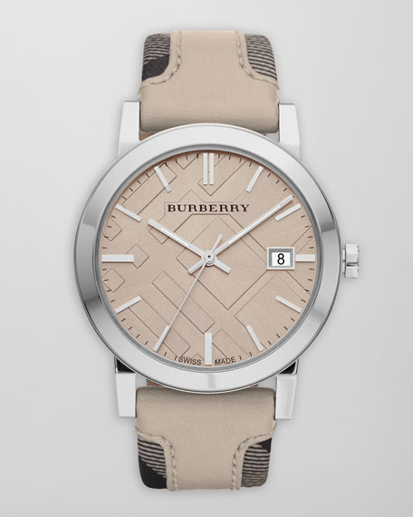 Check-Strap Watch, Tan