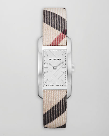 Check-Strap Rectangular Watch