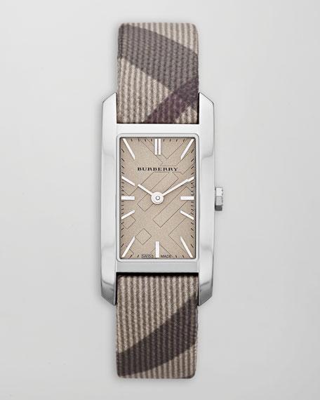 Smoked Check-Strap Rectangular Watch