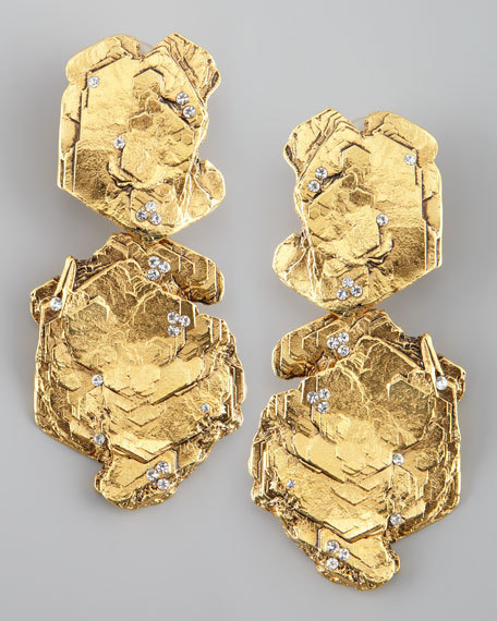 Gold Nugget Clip Earrings