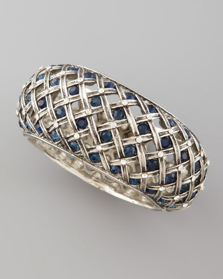 Crystal-Encrusted Silvertone Lattice Bracelet
