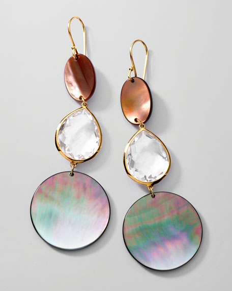 Ondine Triple-Drop Shell/Quartz Earrings