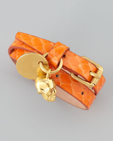 Double-Wrap Snake Bracelet, Blue