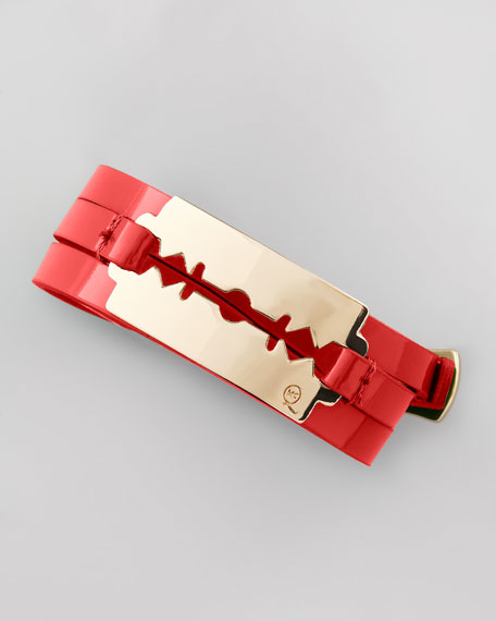 Mini Razor-Blade Wrap Bracelet, Red