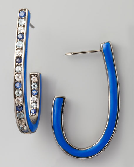 Mixed Pave Sapphire J Hoop Earrings, Blue