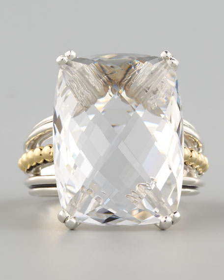 Silver Prism Ring, White Topaz