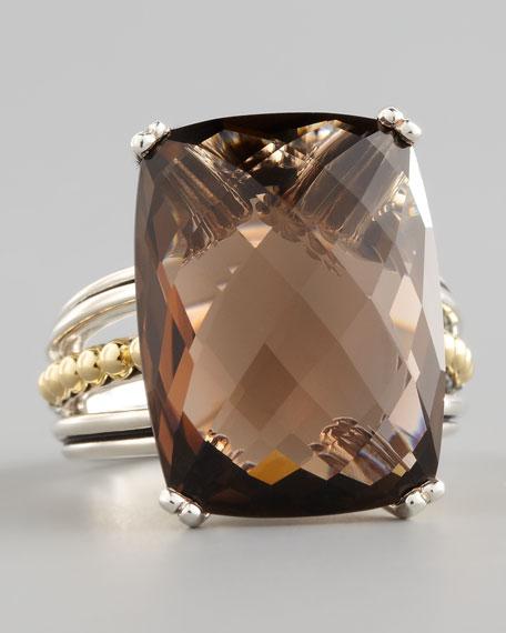 Silver Prism Ring, Smoky Topaz