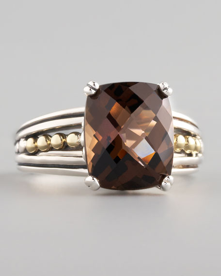 Silver Illumine Small Ring, Smoky Topaz