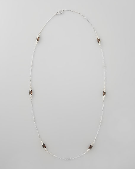 "Prism Smoky Topaz Station Necklace, 36""L"
