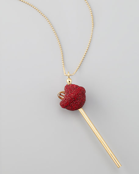 Yellow Gold Crystal-Encrusted Lollipop Necklace, Red