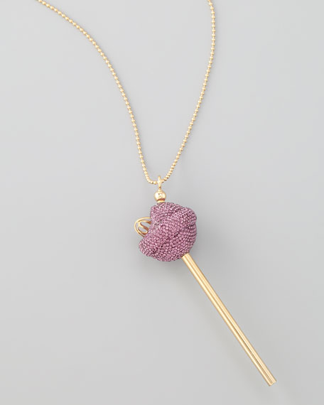 Yellow Gold Crystal-Encrusted Lollipop Necklace, Purple